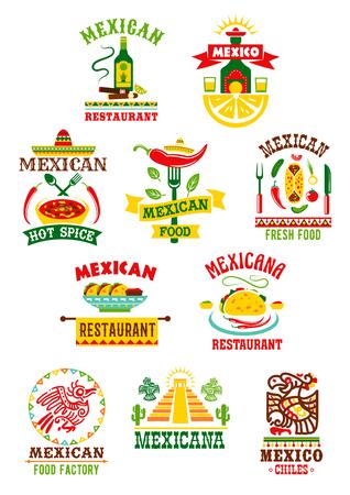 벡터 아이콘 멕시코 패스트 푸드 레스토랑을 설정합니다.