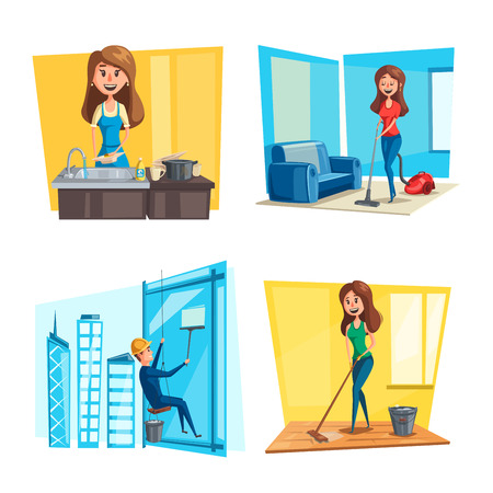 House or room cleaning vector flat desing Çizim