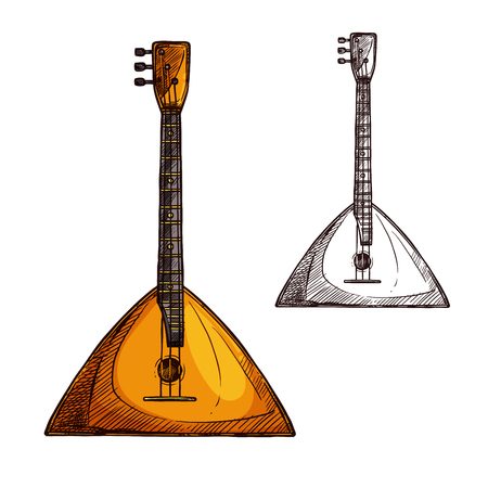 Balalaika guitar string musical instrument. Vector sketch symbol of folk or national Russian guitar of plucking type with three strings for ethnic music concert or festival design Illustration