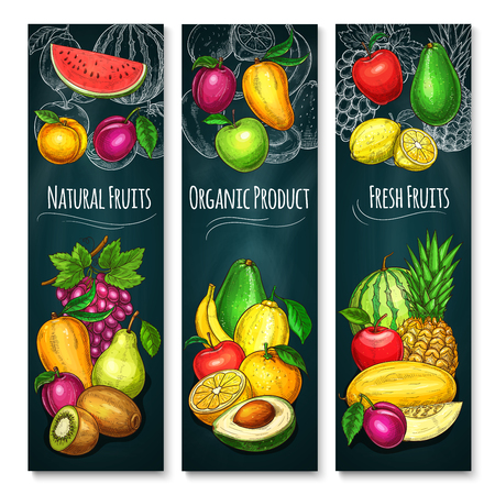 Exotic fruits product banners set of fresh grape, tropical pineapple or kiwi and apple or peach. Vector design of farm grown apricot and pear, melon or watermelon and avocado or mango with papaya