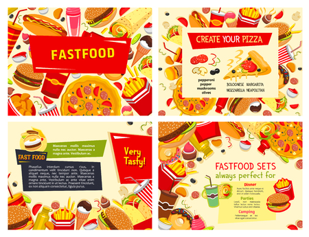 Fast food posters for restaurant. Vector design set of pizza, hamburgers or hot dog sandwiches and popcorn with ice cream and donut dessert, chicken nuggets and cheeseburger for fastfood menu template Illustration