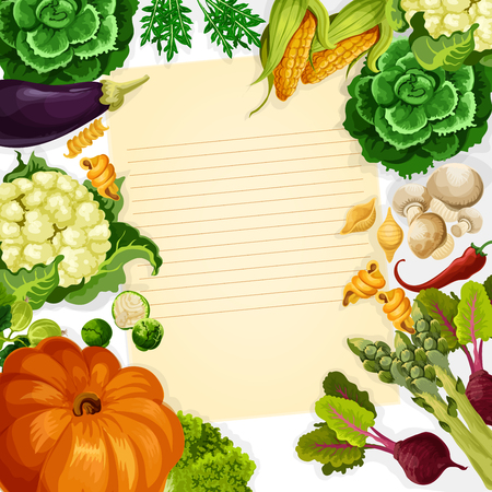 조리법을 요리 야채와 농장 채소의 벡터 템플릿 호박, 당근, 양배추 또는 호박 스쿼시의 수확. 신선한 토마토, 감자 또는 오이 및 부엌 조리법 참고를위