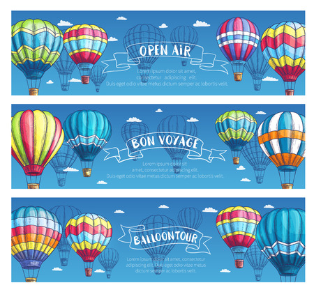 Hot air balloon tourist voyage banners for travel tour advertising of tourism agency or company. Vector design set of hot air balloon adventure on Inflated hopper balloons with patterns