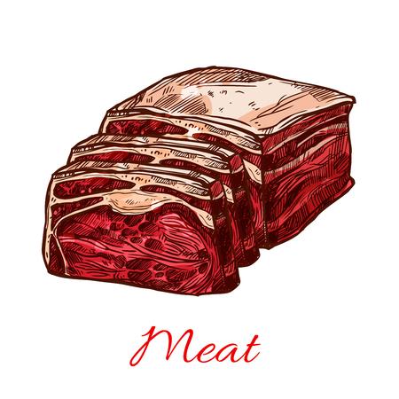 원시 쇠고기 고기 조각 또는 덩어리 스케치 아이콘. 벡터 돼지 고기 햄 안심 또는 분리 된 스테이크 또는 양고기 양고기 도살장 및 프레이 저 고기 제품