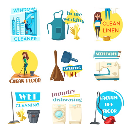 windows home: Home cleaning and homework vector flat design icons set. Woman washing dishes at kitchen sink, cleansing room with mop and vacuum cleaner or sewing needlework. Man cleans windows on skyscraper