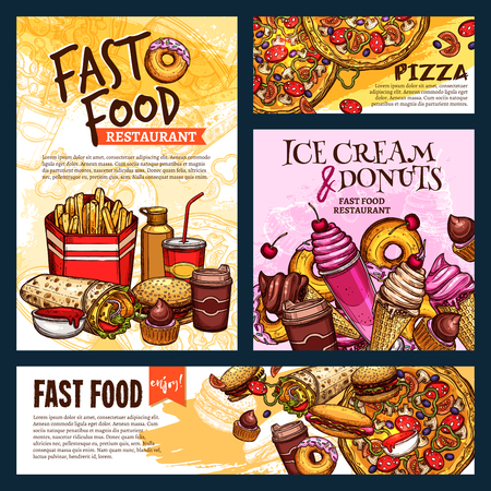 Fast food restaurant posters or banners vector templates set of ice cream, soda drink and burger or hot dog sandwich and donut cake dessert, doner or burrito and chicken nugget snack or pizza for menu Illustration
