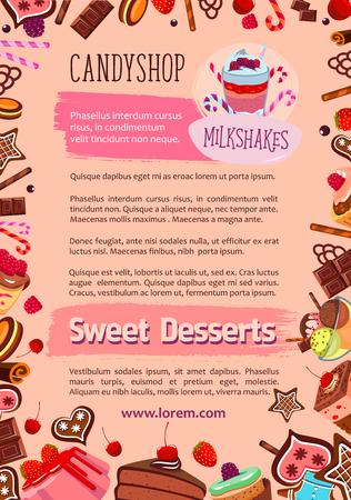 카페 디저트와 케이크의 캔디 샵 포스터. 달콤한 생 과자 및 제과점 초콜렛 컵 케이크, 티라미수 torte 및 과일 푸딩 또는 밀크 쉐이크와 진저 쿠키와 샬  일러스트