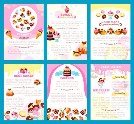 디저트 및 제과점 브로셔 또는 벡터 달콤한 케이크, 비스킷 또는 생강 빵 쿠키와 초콜릿 도넛 또는 브라 우 니 푸딩, 머핀 및 케이크 케이크 또는 케이