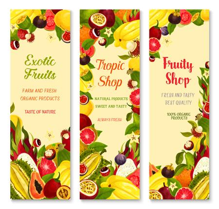Exotic fruits banners for shop. Vector design of carambola, tropical durian or papaya and banana or kiwi, fresh lychee or rambutan and juicy dragon fruit, guava or orange for farm market Vectores