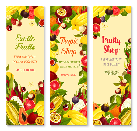Exotic fruits banners for shop. Vector design of carambola, tropical durian or papaya and banana or kiwi, fresh lychee or rambutan and juicy dragon fruit, guava or orange for farm market Stock Illustratie