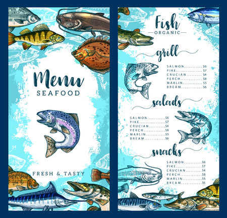 Seafood and fish restaurant menu template of fresh fish dishes. Vector price for grill salmon, pike, crucian or perch and marlin or bream, seafood gourmet snacks and salads or delicatessen appetizers