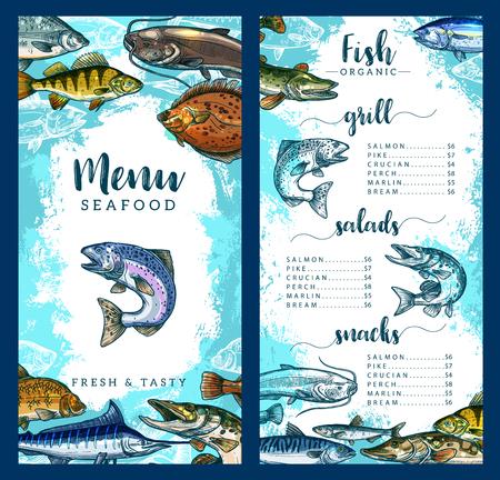 Modèle de menu de restaurant de fruits de mer et de poisson de plats de poisson frais. Prix ??du vecteur pour griller le saumon, le brochet, le carassin ou la perche et le marlin ou la brème, les collations et les salades gastronomiques de fruits de mer ou les amuse-gueules Vecteurs