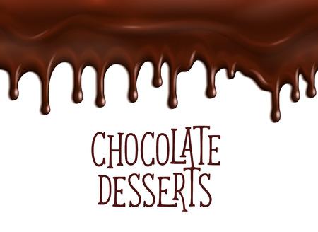 Plakat czekoladowy deser z kroplami kapiącą lub glazurą choco. Projektowanie stron internetowych dla kawiarni lub kawiarni ciasta czekoladowe tiramisu lub brownie ciasta i ciasteczka, cukier kakaowy lub sklep piekarni