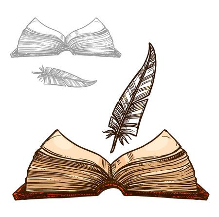 Livro velho ou bloco de notas e caneta de pena de pena de tinta. Artigos de papelaria retro ou antiguidade da escrita do manuscrito áspero marrom do caderno para a letra ou o poema. Conjunto de ícones do vetor isolado