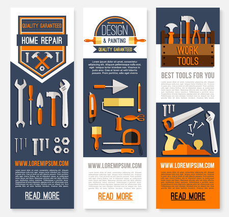 Home repair banners for house finishing and painting. Vector design of construction and carpentry work tools or design instruments of ruler, hammer or paint brush, screwdriver and drill or wrench Illustration