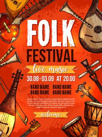 Folk muziek festival poster ontwerpsjabloon van nationale of etnische muziekinstrumenten Afrikaanse jembe drums, Russische balalaika, chinese of Griekse sitar of zyther en Japanse biwa voor live concert
