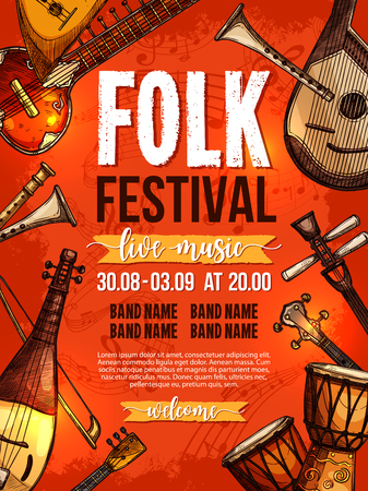 Folk music festival poster design template of national or ethnic musical instruments african jembe drums, russian balalaika, chinese or greek sitar or zyther and japanese biwa for live concert