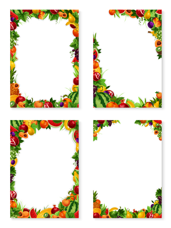 Exotic fruits frames templates set of fresh fruit harvest. Vector design of apricot, peach or mango and papaya, farm fresh watermelon, pineapple or lemon citrus and plum or garden apple and avocado Illustration
