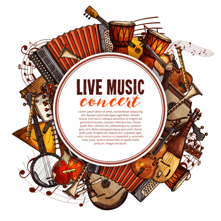 Live music concert poster of musical instruments. Vector design of folk accordion, ethnic jembe drums, jazz saxophone and fiddle violin, banjo guitar and balalaika or biwa harp and music notes stave