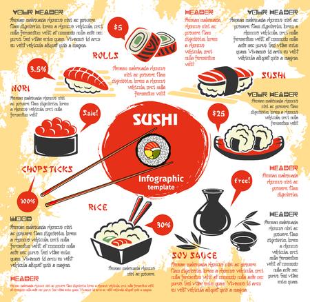 Sushi bar menusjabloon met prijzen voor sushi rollen, vis sashimi en visgerechten. Vector Japanse keuken noedels of miso soepen en garnalen garnalen tempura, gestoomde rijst of sojasaus en eetstokjes