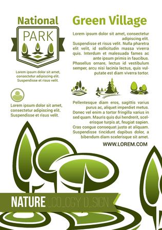 자연 생태 디자인 벡터 포스터입니다. 국립 공원 재배 및 야외 녹색 조경 설계 또는 숲 나무와 삼림의 원예 또는 정원 녹지와 에코 파크 랜드 식물 일러스트
