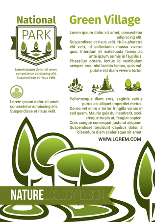 Nature ecology design vector poster. For national parks planting and outdoor green landscape designing or horticulture of forest trees and woodlands or garden greenery and eco parkland plants