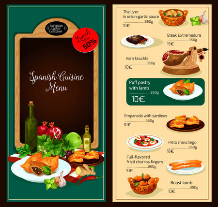 Spanish cuisine restaurant lunch menu vector template of liver in onion-garlic sauce, steak extemadura, ham knuckle and lamb puff pastry, sardines empanada or pisto manchego and fried churros fingers