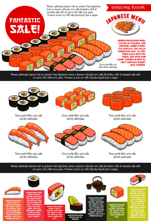A Japanese sushi restaurant menu template with sushi set sale. Vector price design of prawn shrimps tempura, steamed rice and green tea, sashimi and seafood noodle dishes or miso soup and chopsticks