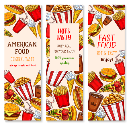 Fast food banners design of burgers, sandwich or snacks and desserts for fastfood restaurant or cafe. Vector set of popcorn, chicken nuggets grill or hot dog and french fries with ice cream and donut