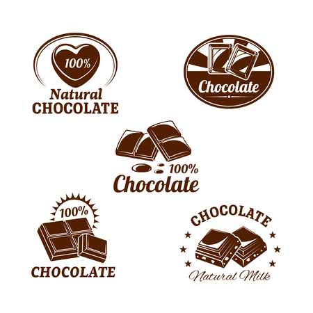 Chocolate desserts icons set of fondant and choco hearts for confectionery and sweets product labels or pack design templates. Isolated symbols of milk chocolate bars with natural nuts or raisins Illusztráció