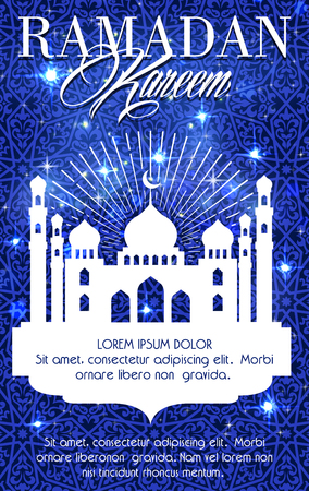 Ramadan Kareem greeting card or poster of blue mosque, crescent moon and twinkling star with Arabic ornate text calligraphy for Islam Muslim religious Ramadan holiday celebration Illustration