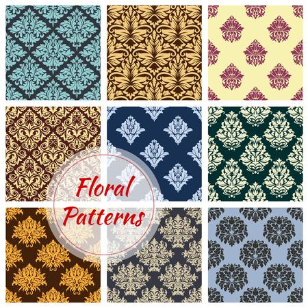 Bloemen naadloze vector patronen van bloem ornament