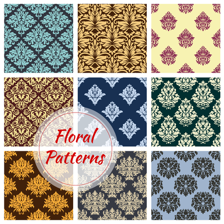 Floral seamless vector patterns of flower ornament Reklamní fotografie - 81227170