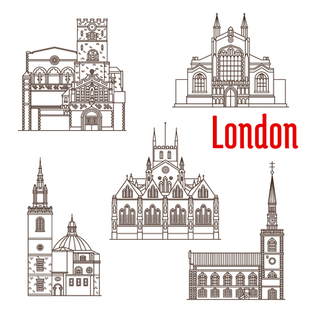 London architecture famous landmarks vector icons Illustration
