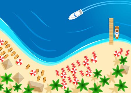 Vettore estivo mare spiaggia vacanza vista dall'alto