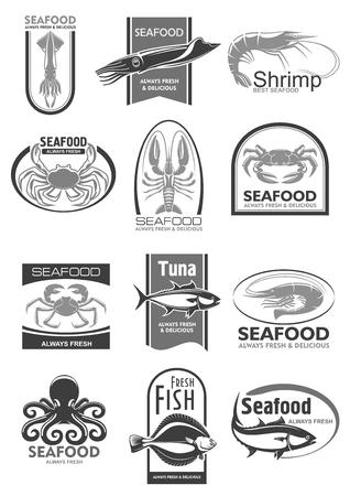 Vector iconen voor zeevruchten markt of vis restaurant