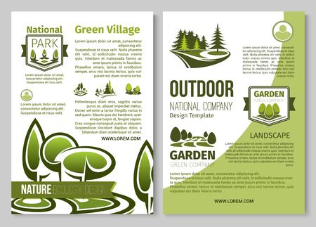 공원 풍경의 녹색 자연 벡터 포스터 일러스트