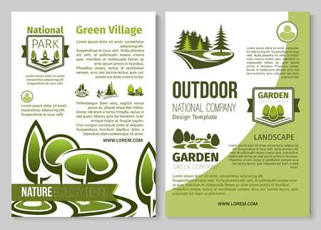 Cartel verde del vector de la naturaleza del paisaje de los parques