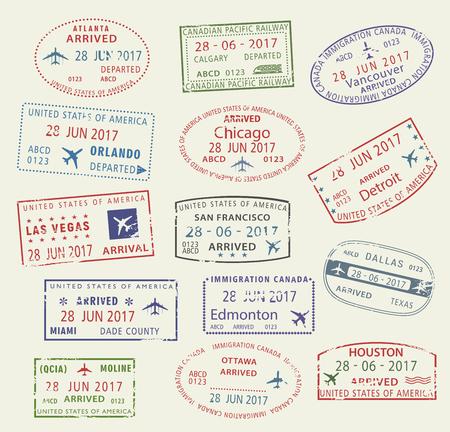 벡터 아이콘 여행 도시 여권 스탬프 미국 캐나다