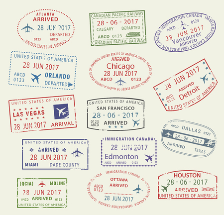 Vector icons travel city passport stamp USA Canada Иллюстрация