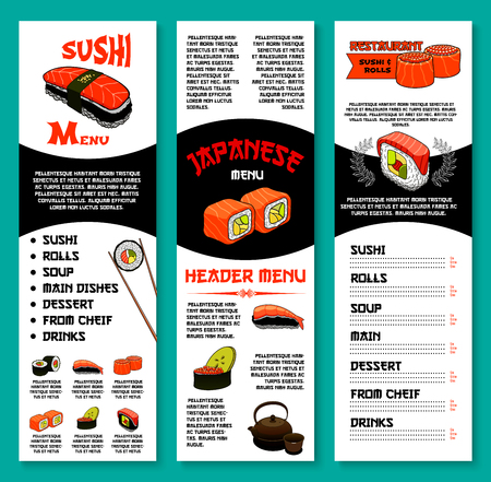 Sushi bar vector menu template of Japanese dishes