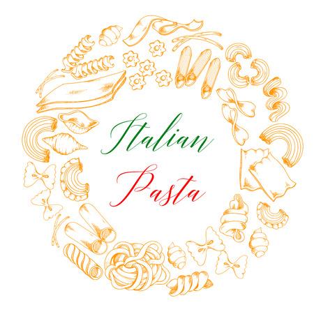 Italian pasta or macaroni vector poster Çizim