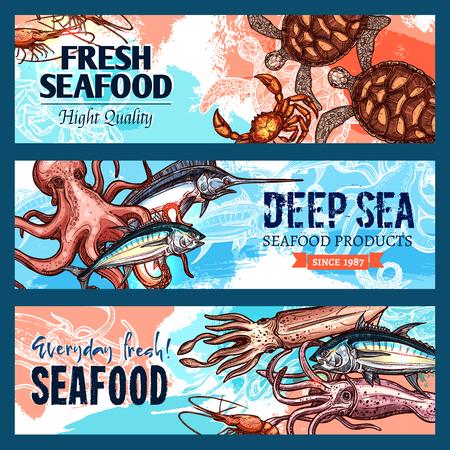 Vector banners zeevruchtenmarkt of vis restaurant