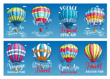 Vector banners for hot air balloon voyage festival