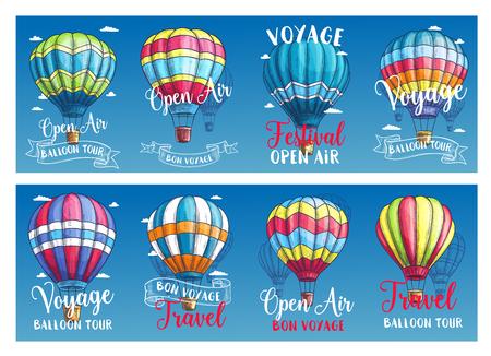 Vectorbanners voor het festival van de hete luchtballonreis Stock Illustratie