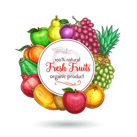 Vector exotic fresh natural fruits poster Stok Fotoğraf - 81227192