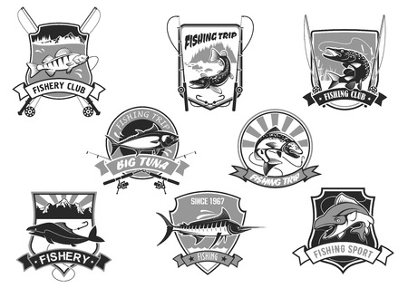 Vector icons set for fishing or fisher sport club