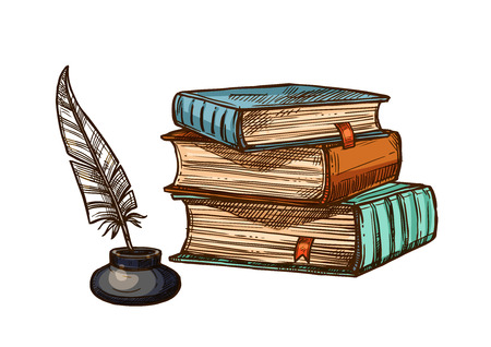 Vector old books and ink feather quill pen Ilustração