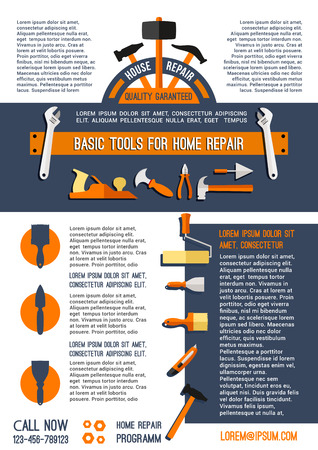 Vector home repair and painting work tools poster