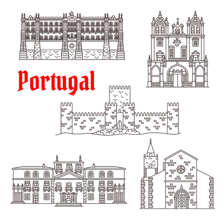 Portugal architecture landmarks vector buildings Иллюстрация